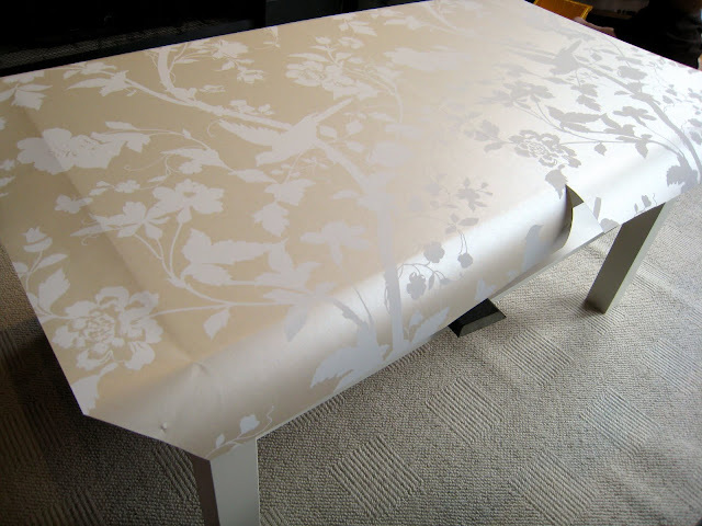 Adding wallpaper to Ikea Lack coffee table - progress