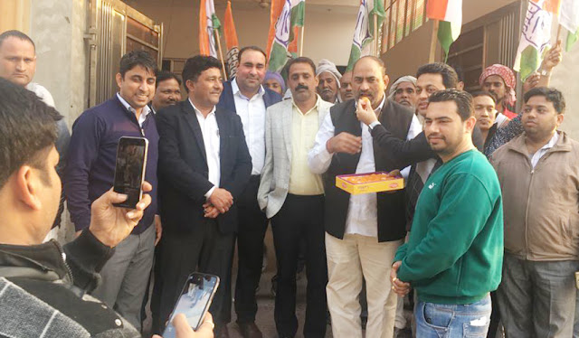 Celebrating Congress Party's victory in Faridabad, Lok Sabha and Assembly elections in Rajasthan