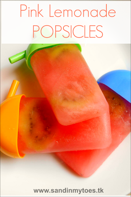 Recipe for making tangy and refreshing pink lemonade popsicles.