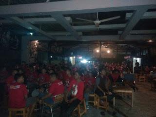Nobar PSM vs Persib, LAJ Soppeng Merahkan Warkop Prima