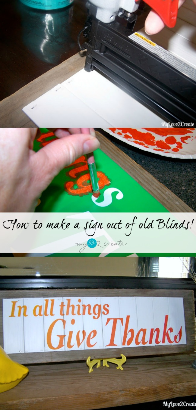 How to make a sign from old blinds