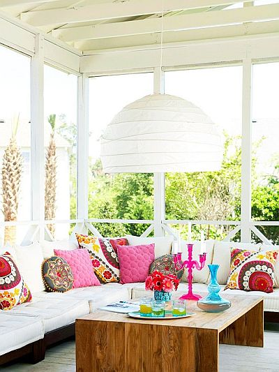 colorful and bohemian porch with lovely cushions