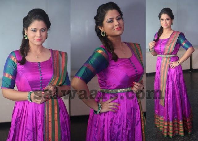 Shilpa Chakravarthy in Pink Floor Length Salwar