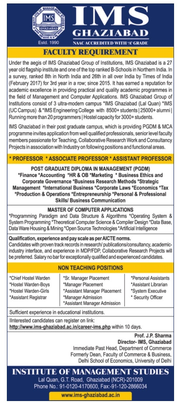 institute of management studies ghaziabad wanted faculty