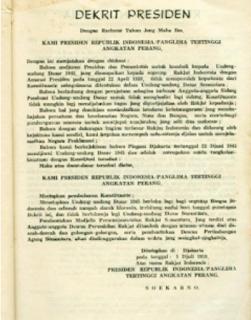 Inilah Isi Dekrit Presiden 5 Juli 1959