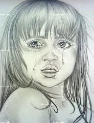 Potrait of a girl shedding tears.