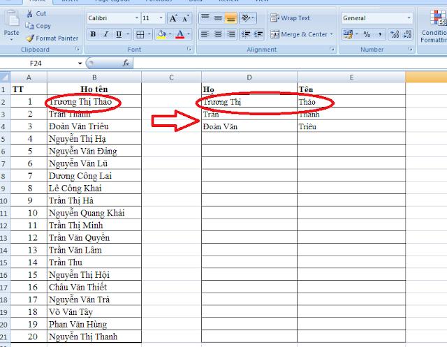 [Học Excel] - Hướng dẫn tách Họ và Tên thành cột Họ và cột Tên trong Excel