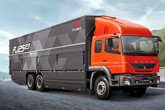 gambar truk modifikasi fuso mitsubishi terbaru merah