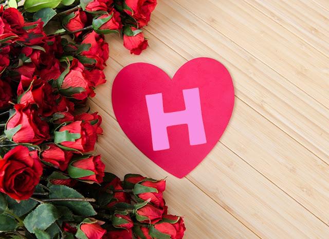 قلوب حب مع حرف h