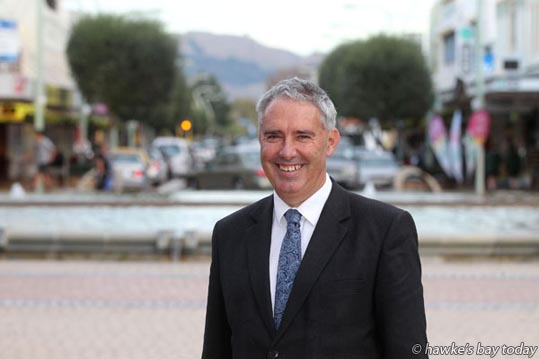 Lawrence Yule, mayor of Hastings District Council, Hastings, who is standing again in this year's local body elections, pictured in the Hastings CBD, looking down Heretaunga St East, towards Havelock North and Te Mata Peak. photograph