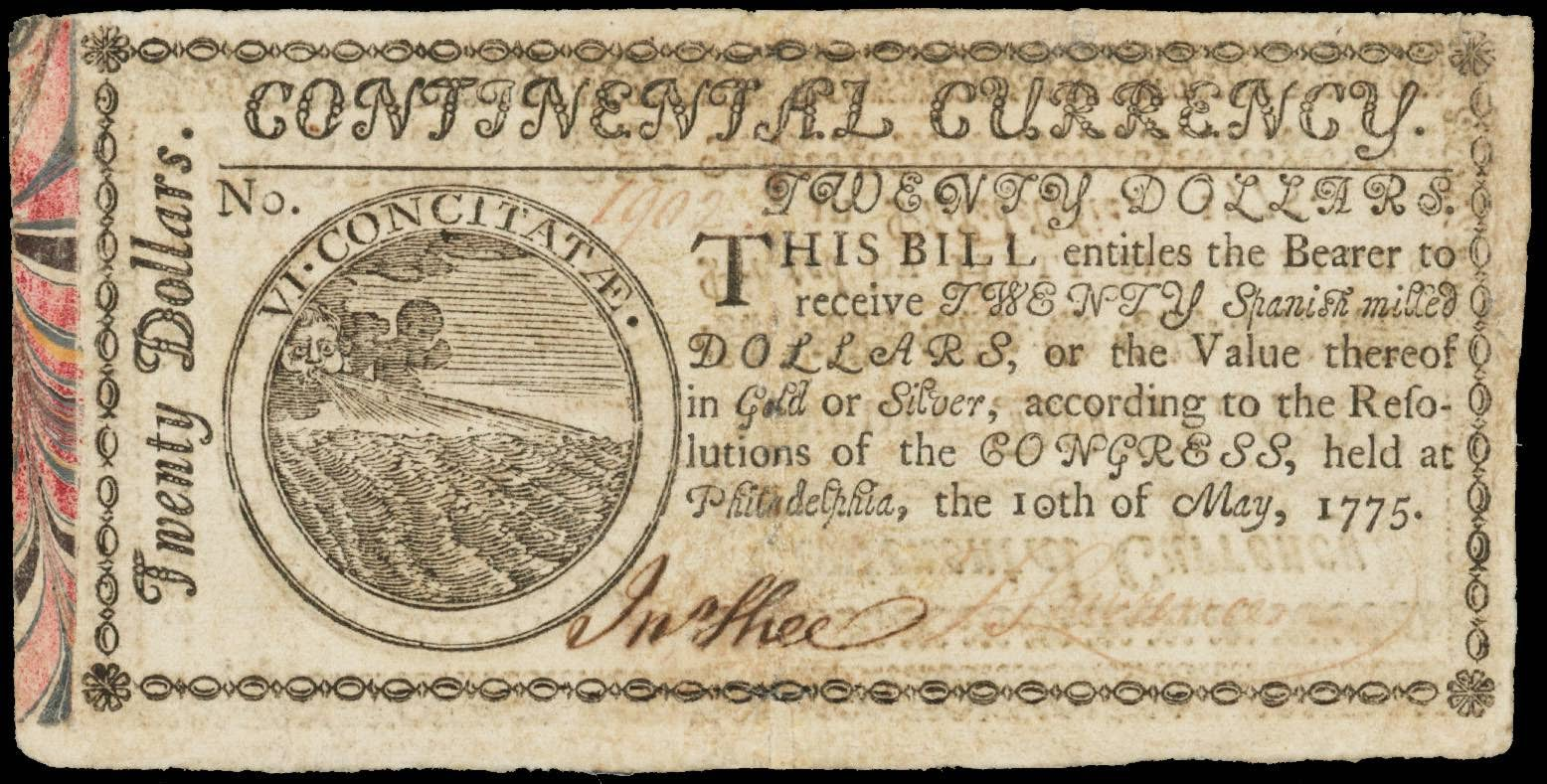 20 Dollar Continental Currency Note 1775