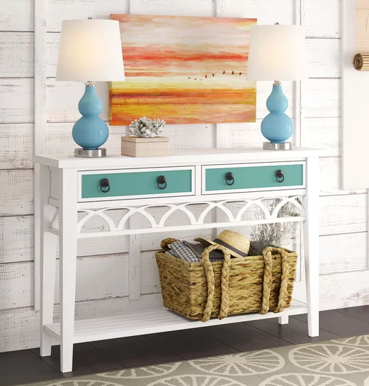 White Console Table with Blue Drawer Fronts
