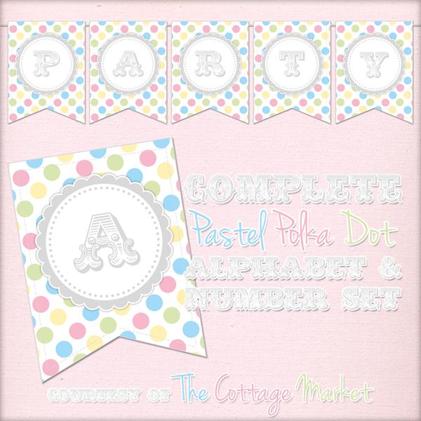Free Printable Pastel Polka Dot Banner