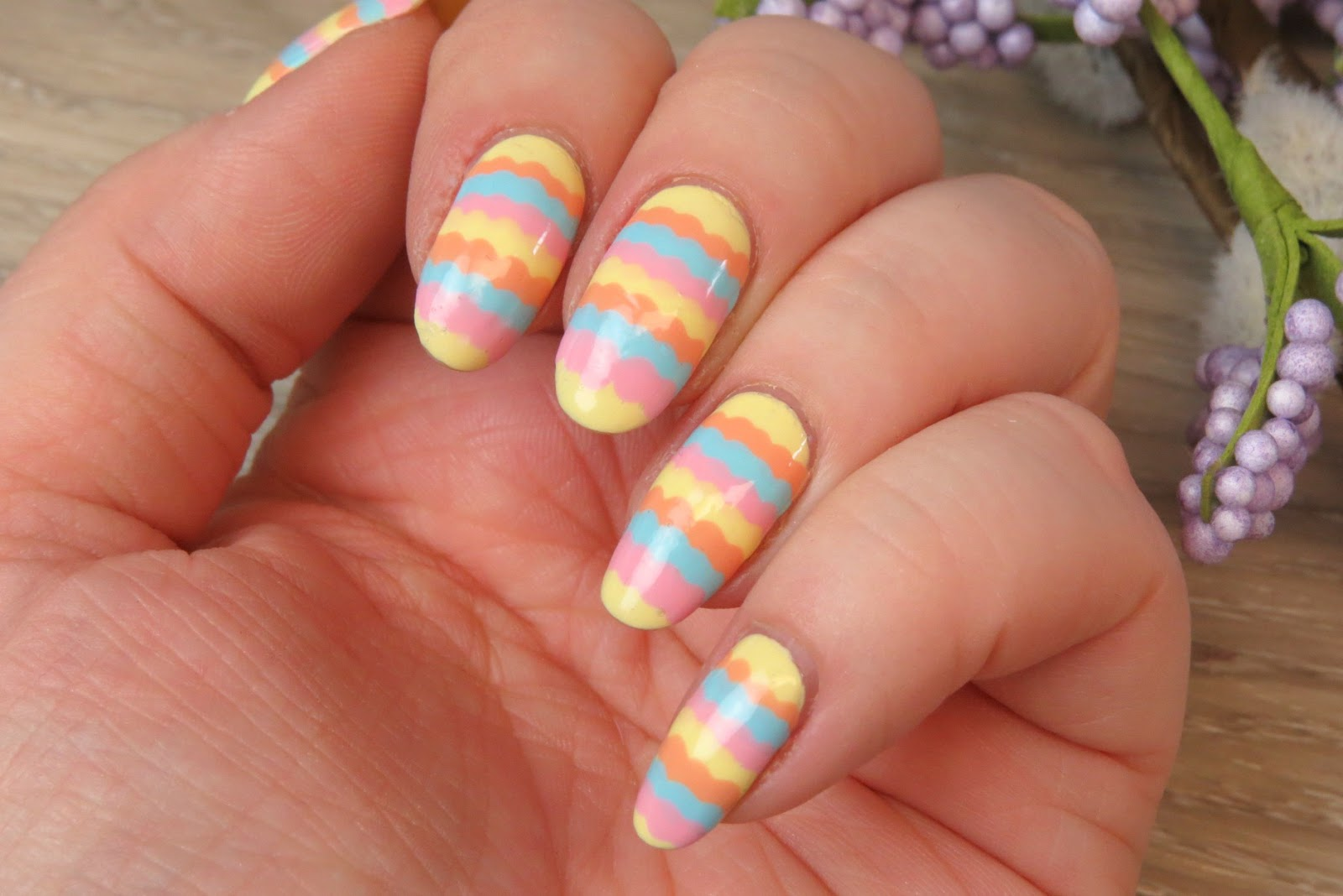Nail art scalloped stripes kaitlyn elisabeth beauty scalloped stripes nail art design nail art using dotting tool opi retro summer 2016 collection prinsesfo Gallery