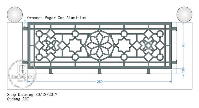 Motif Desain ornamen cor aluminium pagar masjid