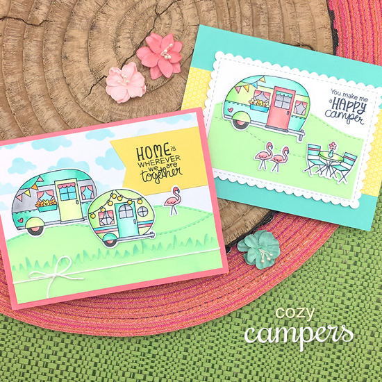 Camper Cards by Jennifer Jackson  | Cozy Campers Stamp Set by Newton's Nook Designs #newtonsnook #handmade