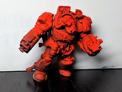 Space Marine terminator complete with shaded red.