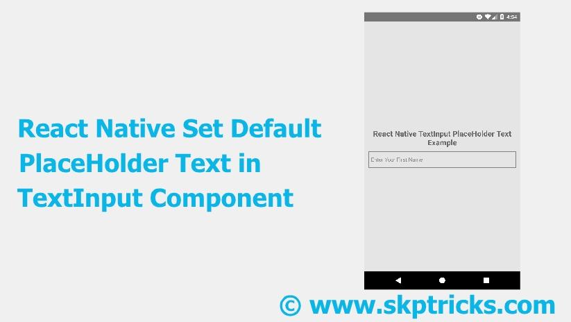React Native Set Default PlaceHolder Text in TextInput