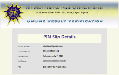 Sample or Image of WAEC Verification