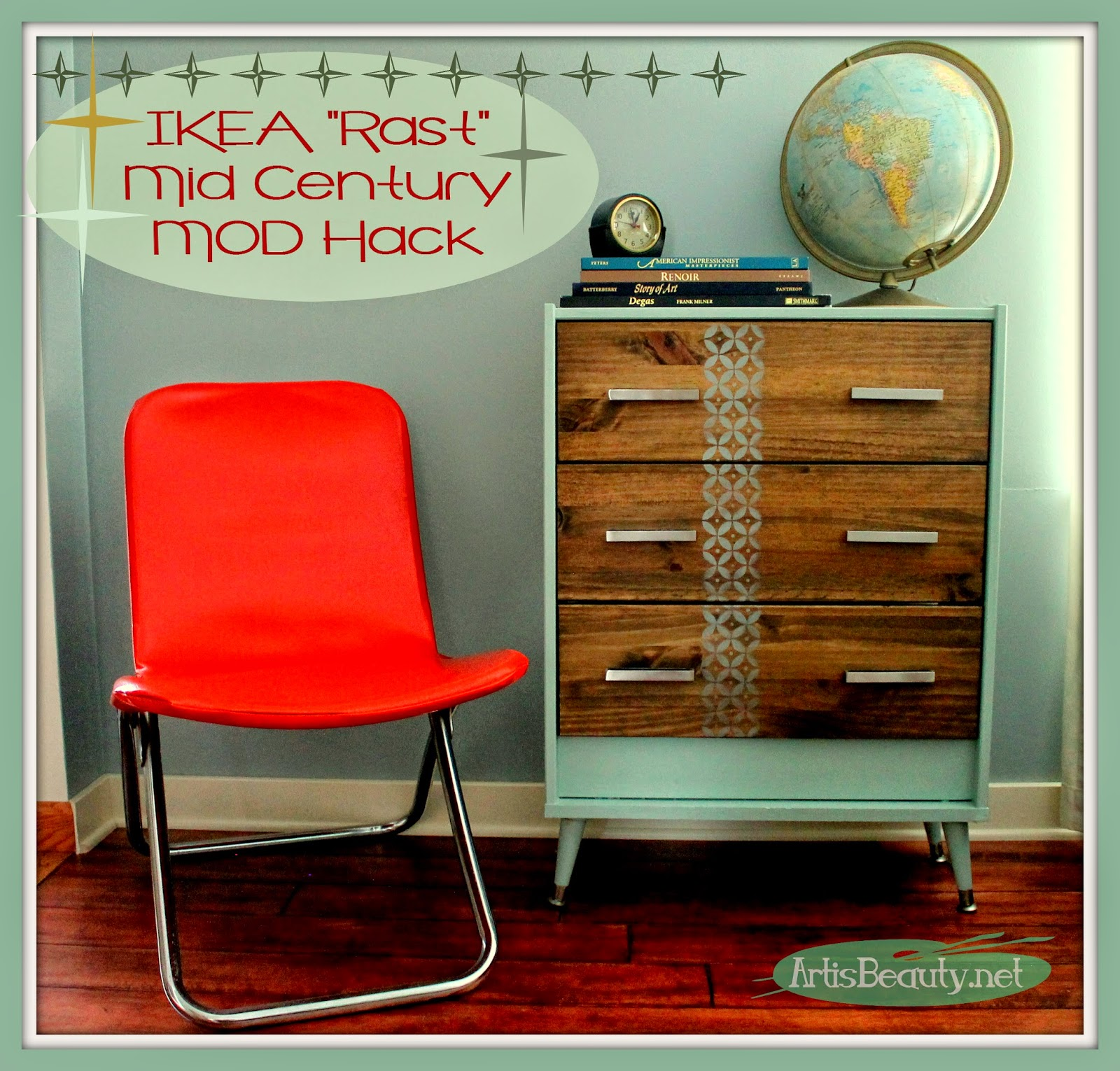 art is beauty mid century mod ikea rast hack dresser. Black Bedroom Furniture Sets. Home Design Ideas