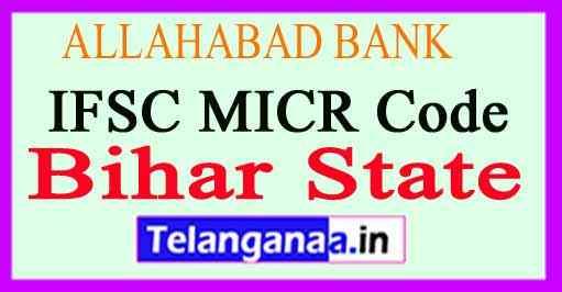 ALLAHABAD BANK IFSC MICR Code Bihar State