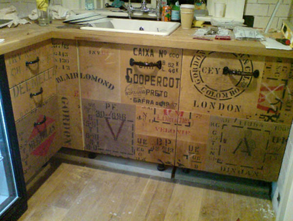 kitchen cabinets made from recycled wood crates by rupert blanchard