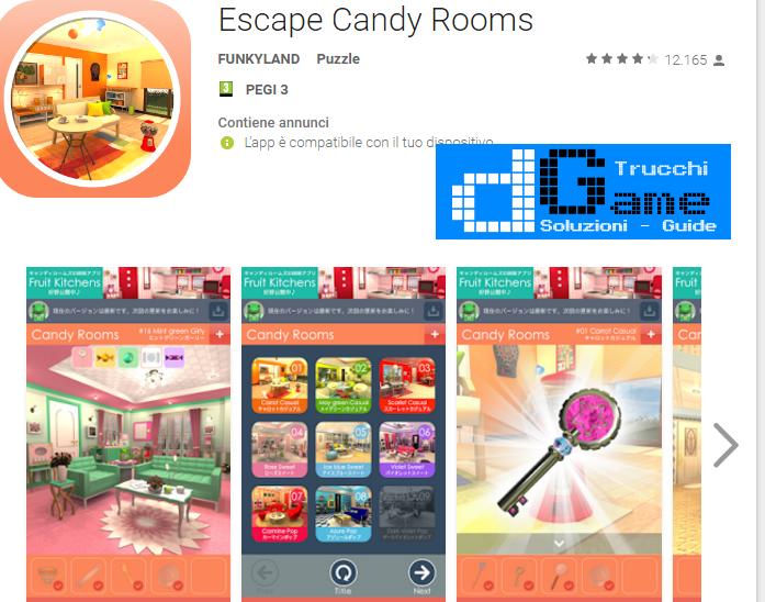 Soluzioni Candy Rooms Escape  di tutti i livelli | Walkthrough guide