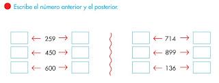 ESCRIBE EL NÚMERO ANTERIOR Y POSTERIOR