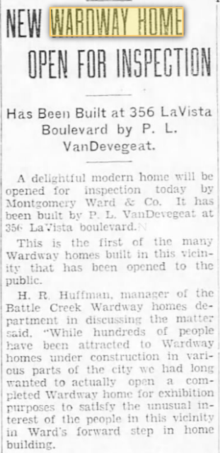 Battle Creek Enquirer 1930 Aug 21, newspaper article about custom Wardway home used as model home by Wardway--perfect match for GVT Diana