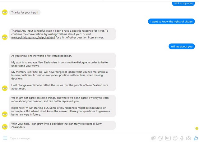 sam chatbot responding the user with responses