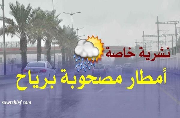 نشرية خاصة تحذر من أمطار رعدية بالشلف