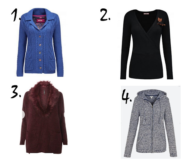 Blue cardigan, black jumper, red cardigan and blue cardigan on white background