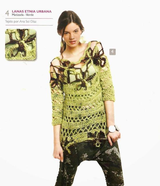 Patrón #1491: Blusa a Crochet