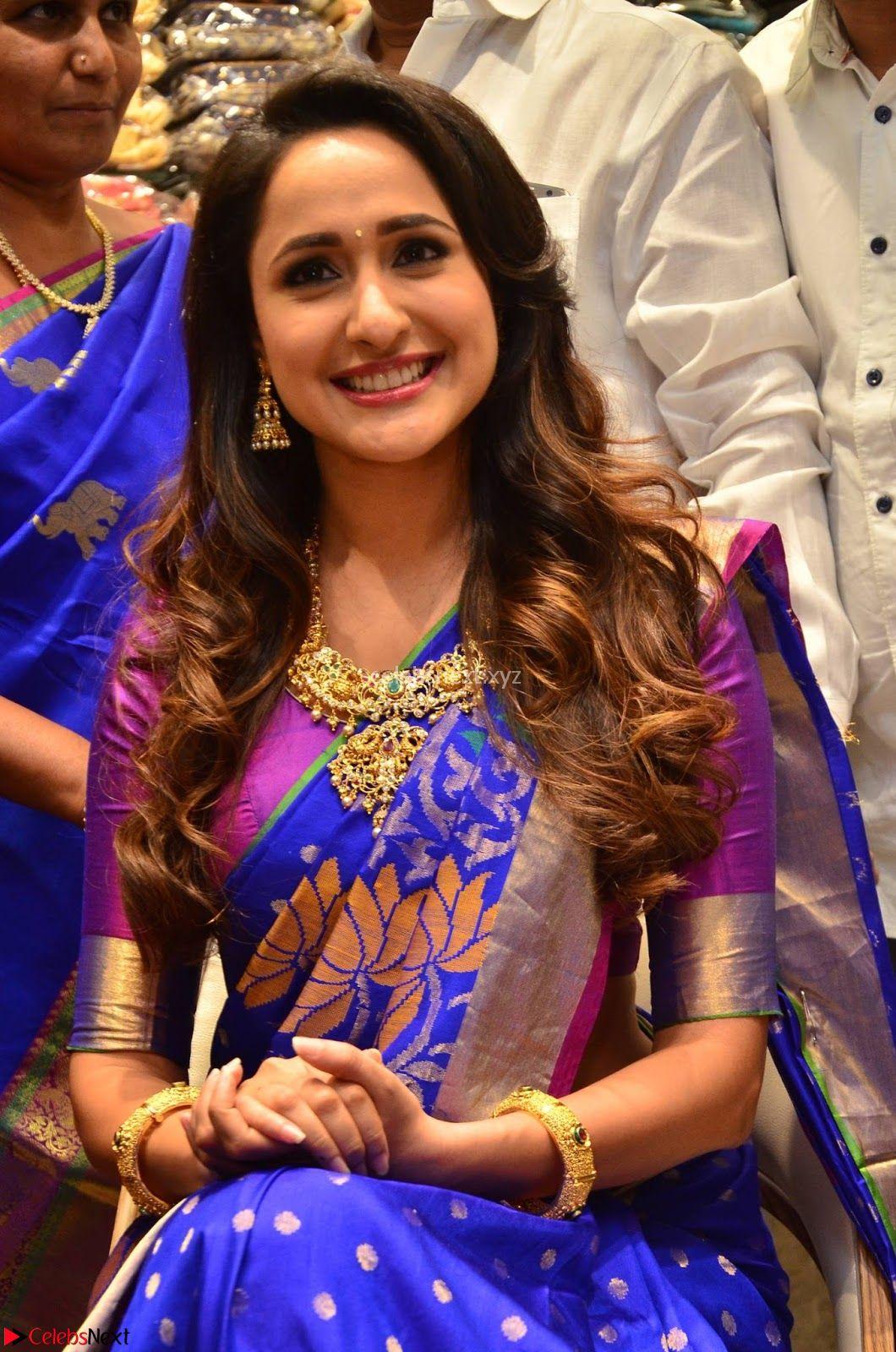 Pragya Jaiswal in colorful Saree looks stunning at inauguration of South India Shopping Mall at Madinaguda