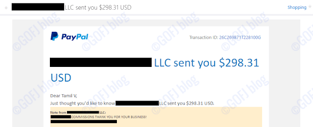 Funds loaded into the PayPal account