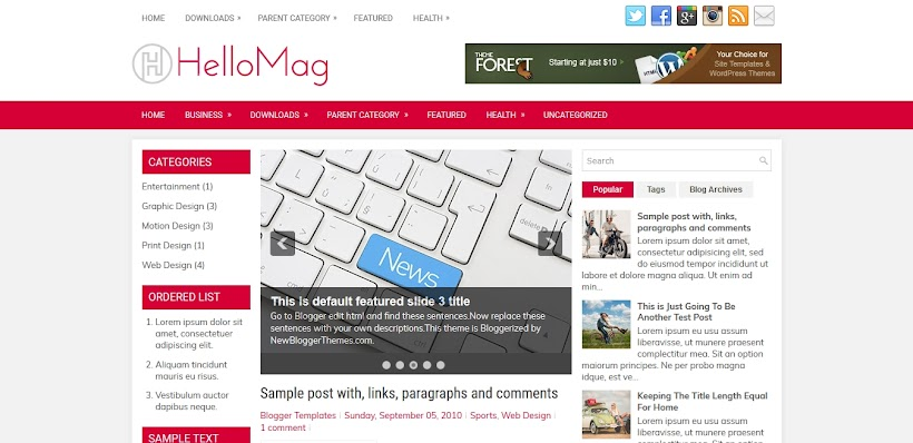 HelloMag Free Blogger Template