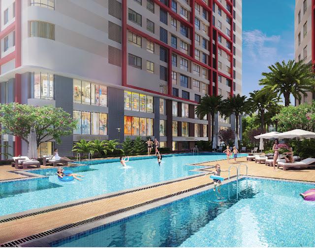 Bể bơi tràn bờ tại Imperial Plaza