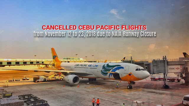 Cancelled Cebu Pacific Flights from November 12 to 23, 2018