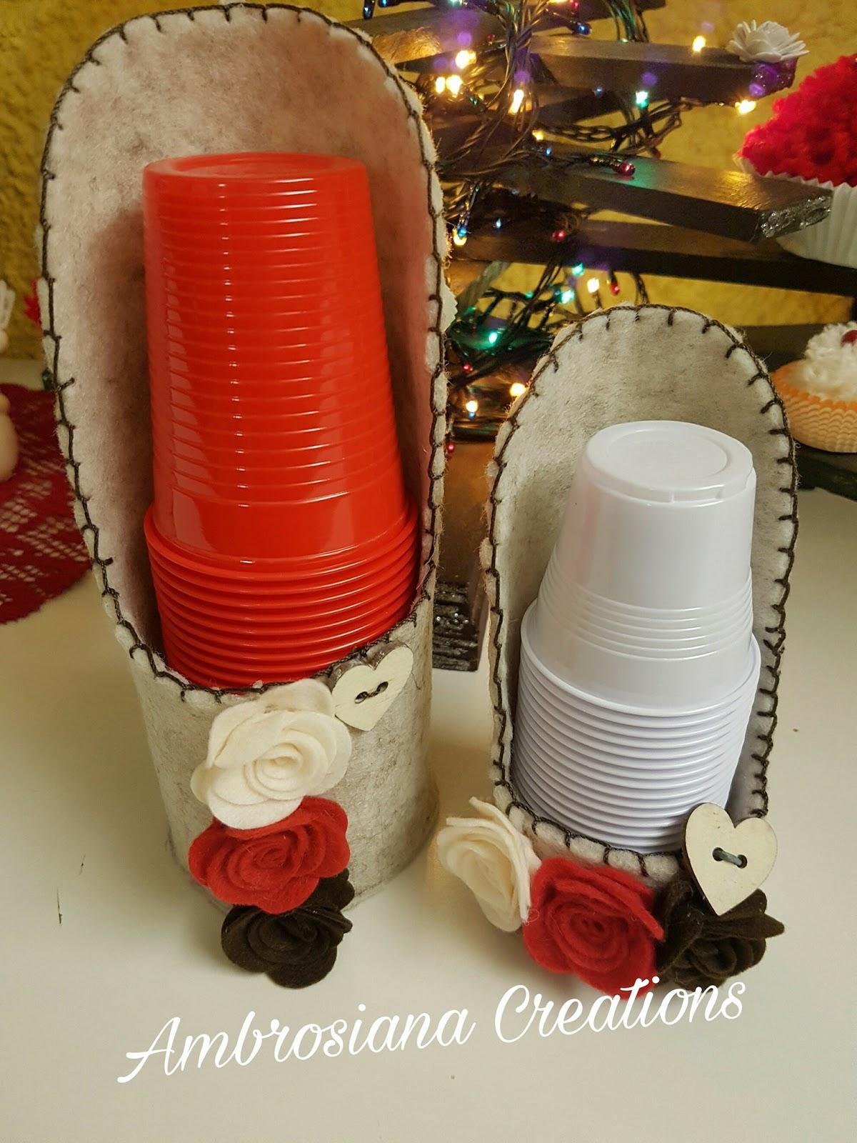 Ambrosiana creation piccolo tutorial porta bicchieri - Bicchieri decorati per natale ...