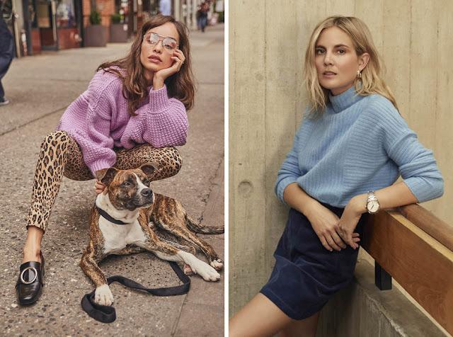 Сиреневый и голубой свитера с леопардовыми брюками
