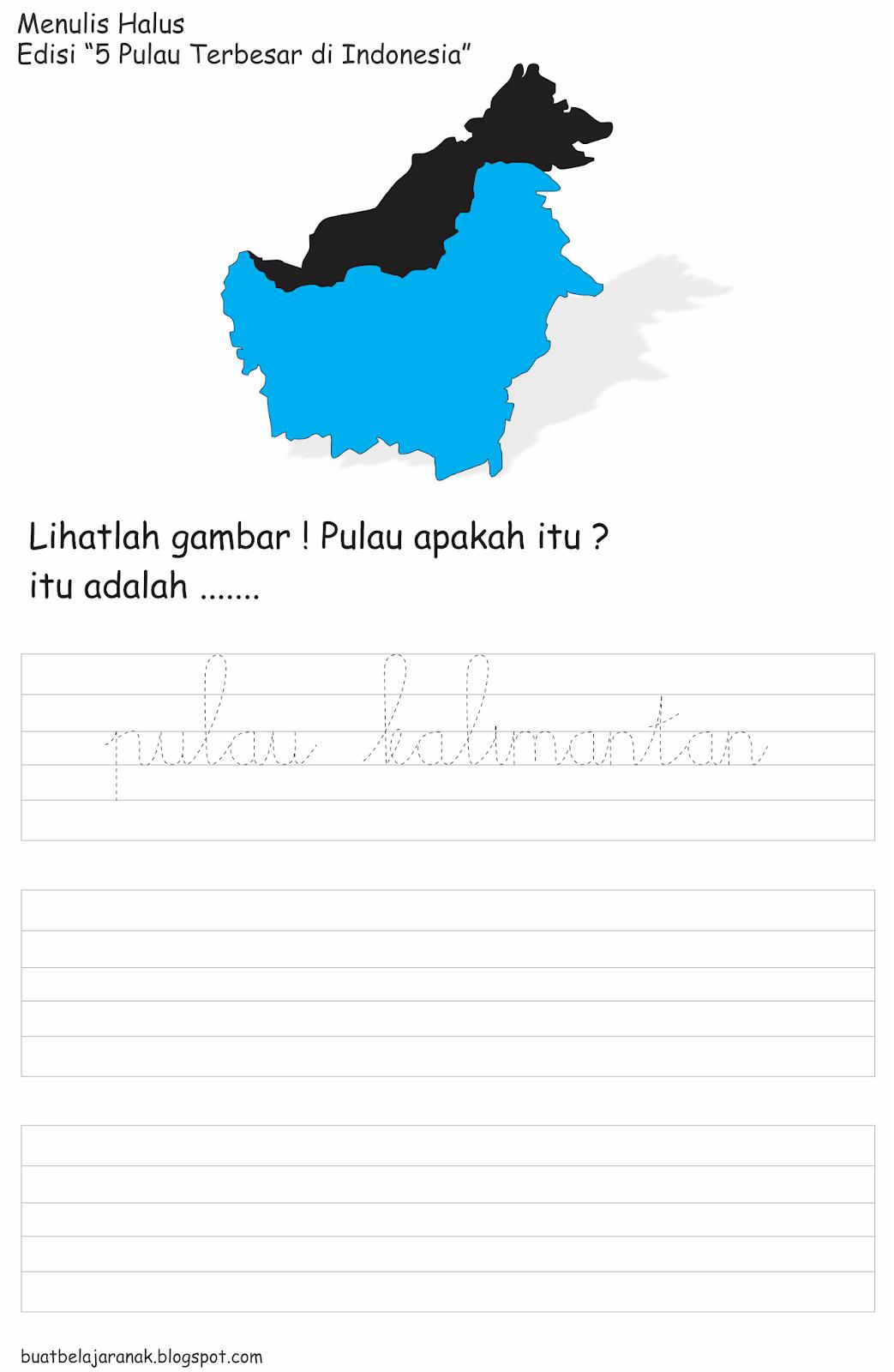 Lembar Kerja Menulis Tegak Bersambung Edisi 5 Pulau