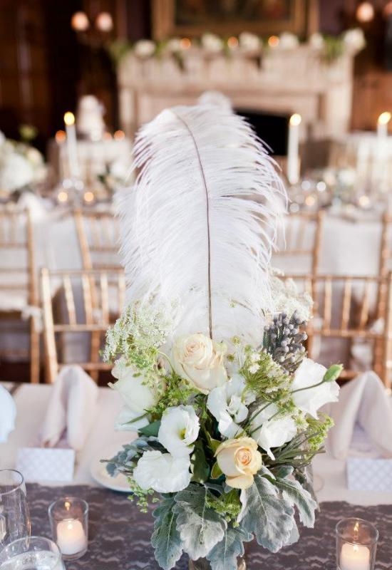 feathers wedding, roaring 20s wedding, feather wedding centerpiece