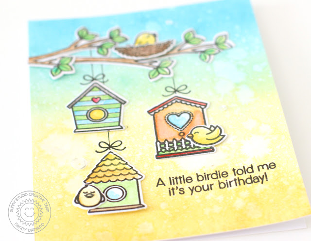 Sunny Studio Stamps: A Bird's Life Birdhouse Trio Birthday Card by Nancy Damiano