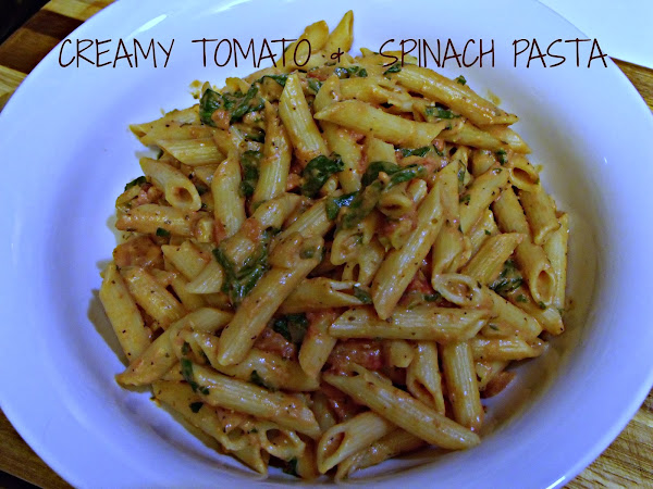 Creamy Tomato with Spinach Pasta and Baked Pork Chops