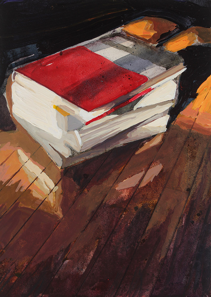 An acrylic still life painting of a stack of books on hardwood floors