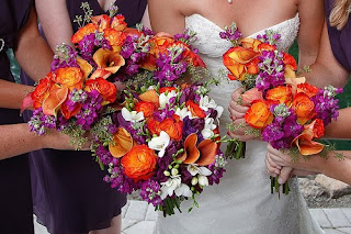 purple, orange and pink wedding bouquet
