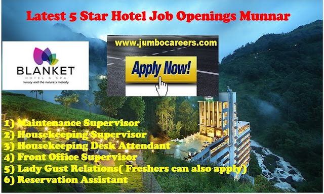 munnar hotel jobs, house keeping supervisor jobs in munnar