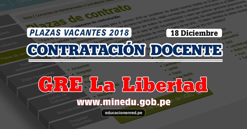 GRE La Libertad: Plazas Vacantes Contrato Docente 2018 (.PDF) www.grell.gob.pe
