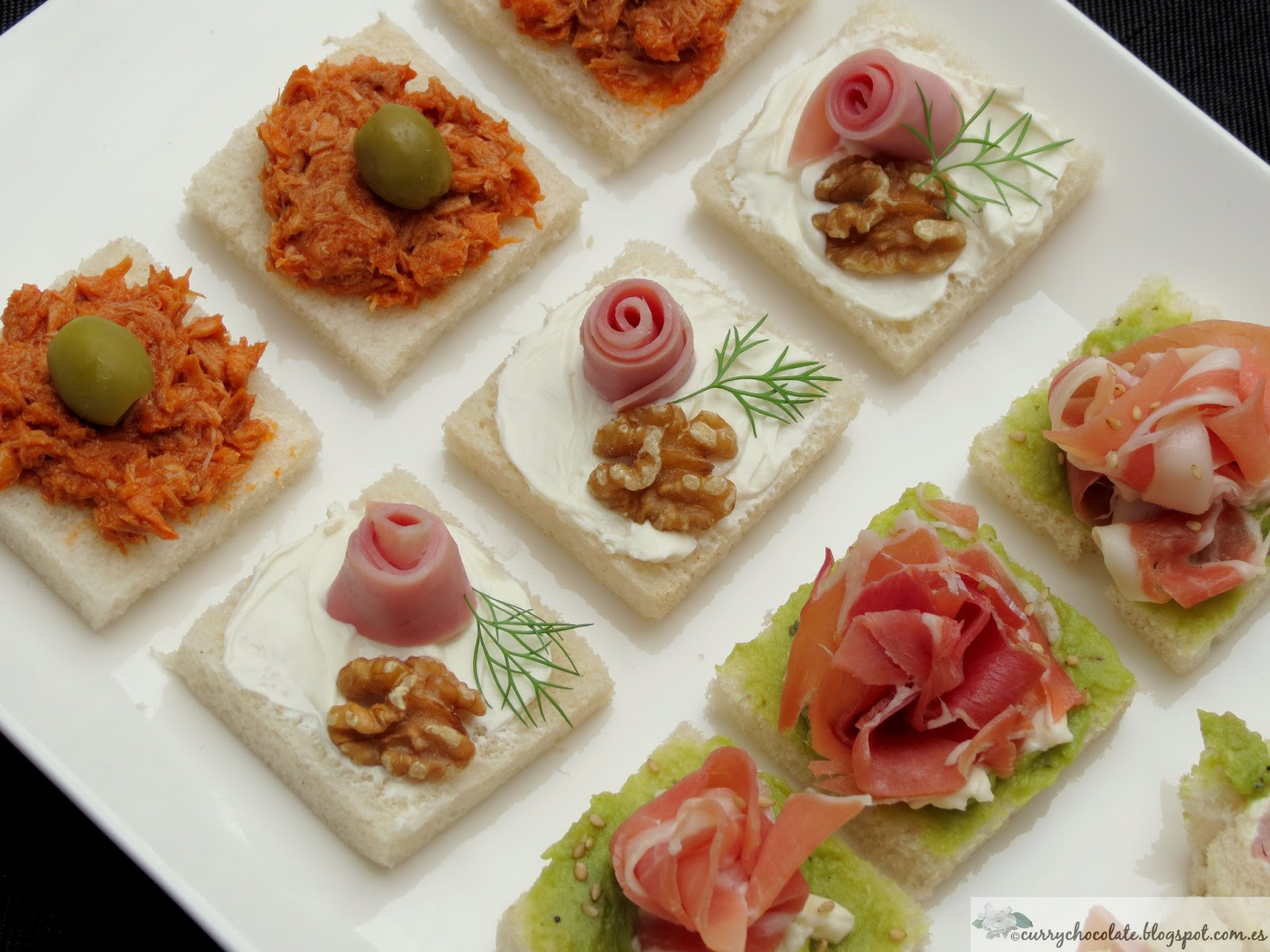 Curry y chocolate canap s f ciles parte 1 easy for Canape de jamon y queso