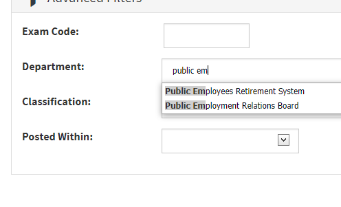 Image of a department job search on CalCareers